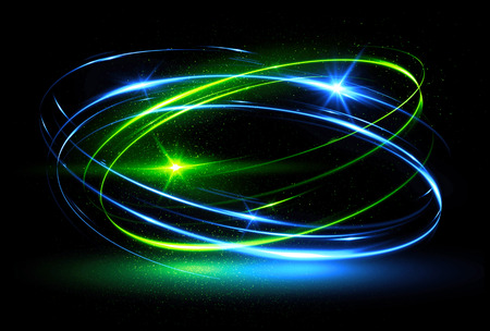 radiant: Glow effect. Ribbon glint. Abstract rotational border lines. Power energy. LED glare tape. Luminous shining neon lights cosmic abstract frame. Magic design round whirl. Swirl trail effect.