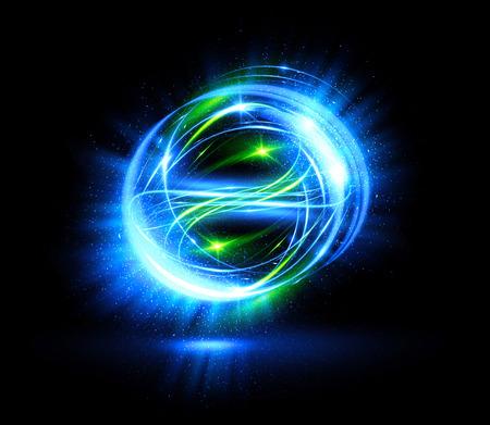 광선 효과입니다. 리본 반짝임. 추상 회전 테두리 선입니다. 전력 에너지. LED 눈부심 테이프. 빛나는 네온 등 빛 우주 추상 프레임입니다. 마법의 디자