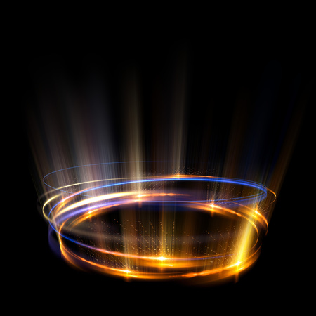 Empty podium. Disco club. Rays view. Show magic party. Spot fog lamp. Glint check scene. Bright space. Stand round. Vivid stage. Whirlpool spiral backdrop. Exhibition platform. Glare bright tape.