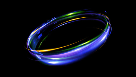 led: Glow effect. Ribbon glint. Abstract rotational border lines. Power energy. LED glare tape. Luminous shining neon lights cosmic abstract frame. Magic design round whirl. Swirl trail effect.