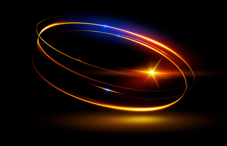 Glow effect. Ribbon glint. Abstract rotational border lines. Power energy. LED glare tape.Luminous shining neon lights cosmic abstract frame. Magic design round whirl. Swirl trail effect. Banque d'images