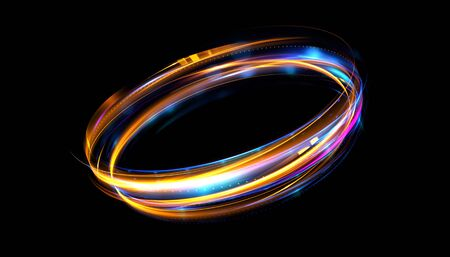Glow effect. Ribbon glint. Abstract rotational border lines. Power energy. LED glare tape.