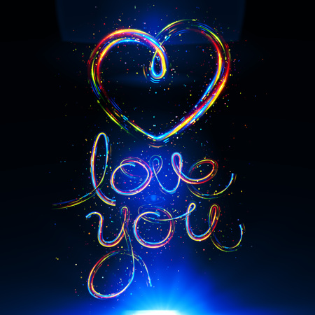 Glow heart on backdrop. Shine romantic font. Valentine sexy ribbon shape. Passion romance. Blur decoration. Stock Photo
