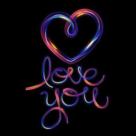 Glow heart on backdrop. Shine romantic font. Valentine sexy ribbon shape. Passion romance. Blur decoration. Reklamní fotografie