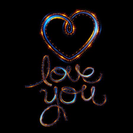 Glow heart on backdrop. Shine romantic font. Valentine sexy ribbon shape. Passion romance. Blur decoration. 版權商用圖片