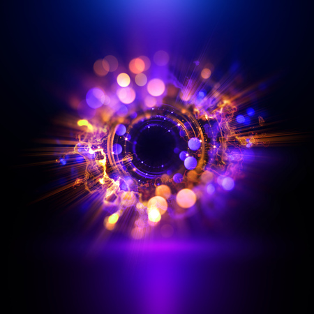 Abstract background. luminous swirling. Elegant glowing circle.  Sparking particle. Space tunnel. Glossy jellyfish. Colorful ellipse. Glint sphere