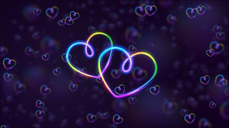 wedded: Glow heart on backdrop. Shine romantic font. Valentine sexy ribbon shape. Passion romance. Blur decoration. Stock Photo