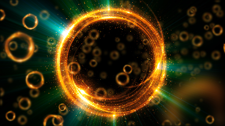 astral: Abstract neon background. Shine swirling. Glowing spiral cover.  Bubbles elegant. Halo around. Power sparks data particle. Space tunnel. Glossy jellyfish. LED color ellipse. Glint glitter beam tech Stock Photo