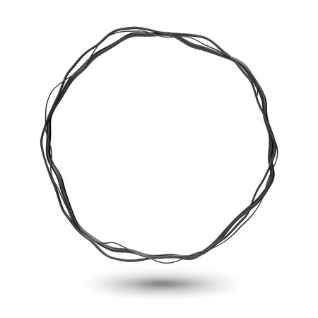 Abstract metal ring power science background. Round tech energy frame. Glossy metallic circle. Shiny silver banner. Artwork concept. Curves flow wave Stock Photo