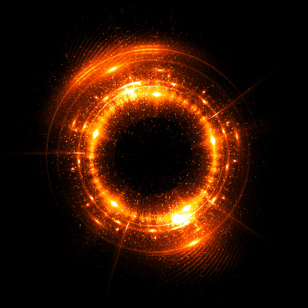 Abstract neon background. luminous swirling. Glowing spiral cover. Black elegant. Halo around. Power isolated. Sparks particle. Space tunnel. Glossy jellyfish. LED color ellipse. Glint glitter Imagens