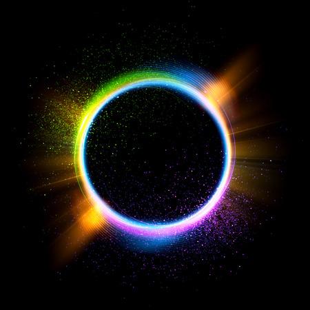 Abstracte achtergrond. Lichtgevende werveling. Elegante gloeiende cirkel. Sparking deeltje. Ruimtetunnel. Glanzende Kwallen. Kleurrijke ellips. Glint bol Stockfoto