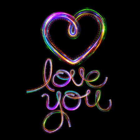 eternity: Glow heart on backdrop. Shine romantic font. Valentine sexy ribbon shape. Passion romance. Blur decoration. Stock Photo