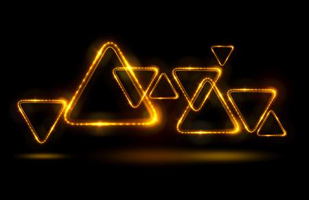 Beleuchtende geometrische Formen auf schwarzem Hintergrund. Schöner glühender Entwurf Tapepaper mit Schmuckverzierung. Luxusstrahlmuster. Standard-Bild - 87539815