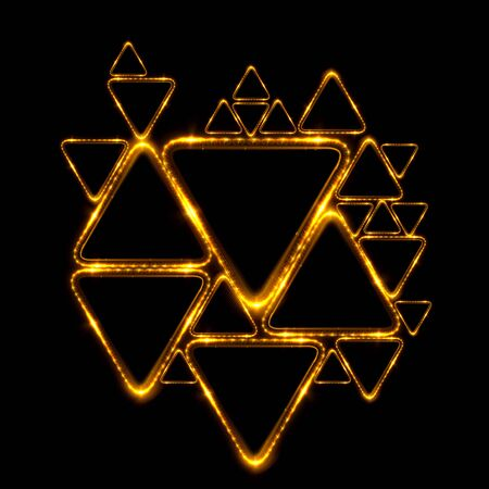 Lighting geometrical shapes on black background. Beautiful glowing design.Wallpaper with jewelry ornament. Luxury beam pattern.