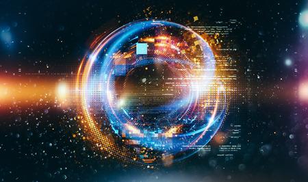 Abstrakter Technologiehintergrund. Schwebender Zahlen-HUD-Hintergrund. Matrixpartikel gittern virtuelle Realität. Intelligenter Build. Gitterkern. Hardware-Quantenform. Zukunftstechnologie Standard-Bild - 86089041