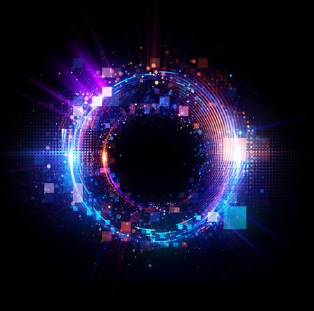 抽象的な背景。発光旋回。エレガントな光る円。ビッグデータ、クラウド。光のリング。 粒子の火付け役。スペース トンネル。カラフルな楕円。閃