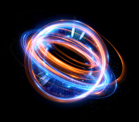 Abstract background. Elegant glowing circle. Light ring. Atoms and electrons. Sparking particle. 