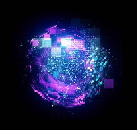 抽象的な背景。エレガントな光る円。ライトリング。原子と電子物理学の概念。スパーク粒子。宇宙トンネル。カラフルな楕円。きらめきの球。明
