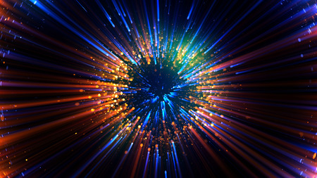 aura energy: Abstract spacescape, black hole. Star on dark background. Magic explosion star with particles. Speed of light. Motion blur. Journey to the universe. Lights trail using zoom.  light warp speed. Nebula Stock Photo