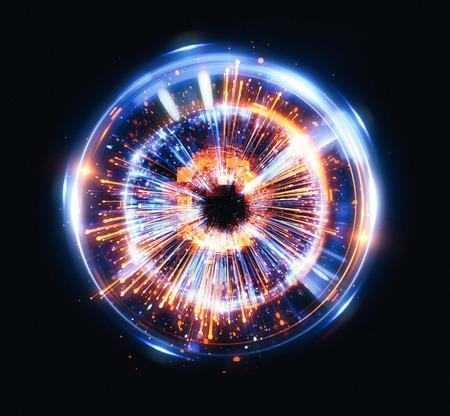抽象的な背景。エレガントな光る円。光のリング。原子と電子。粒子の火付け役。 カラフルな楕円。閃光球。明るい枠線。エネルギー ボール。物理