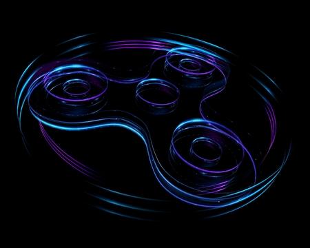 3d illustration of fidget spinner on black background. Lighting trace. Hand spinner