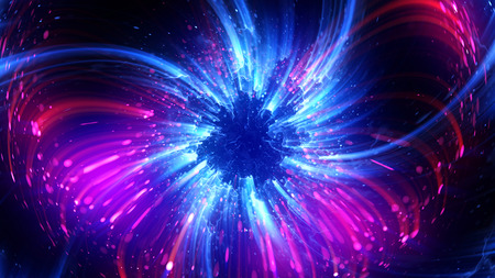 aura energy: Abstract spacescape, black hole. Star on dark background. Magic explosion star with particles.  Speed of light. Motion blur. Journey to the universe. Lights trail using zoom. light warp speed. Nebula
