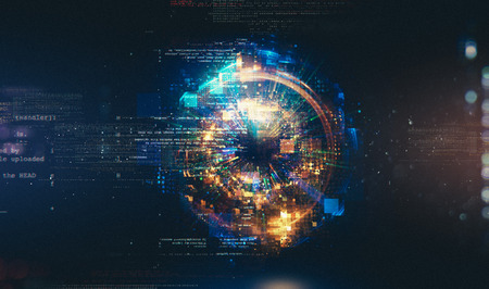 추상 기술 배경입니다. 부동 숫자 HUD 배경. 매트릭스 입자 그리드 가상 현실. 스마트 빌드. 그리드 코어. 하드웨어 양자 형태. 미래 기술 스톡 콘텐츠