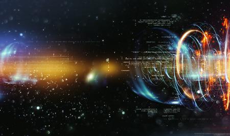 추상 기술 배경입니다. 부동 숫자 HUD 배경. 매트릭스 입자 그리드 가상 현실. 스마트 빌드. 그리드 코어. 하드웨어 양자 형태. 미래 기술