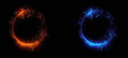 Versus round blue and red glow rays night scene. Light effect podium.  Disco club dance floor. Beam stage. Magic fantasy portal. Futuristic teleport.