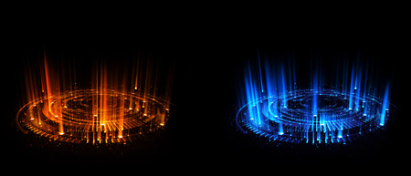 vs: Versus round blue and red glow rays night scene. Light effect podium.  Disco club dance floor. Beam stage. Magic fantasy portal. Futuristic teleport.