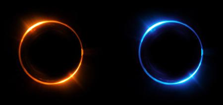 Versus round blue and red glow rays night scene. Light effect podium. Disco club dance floor. Beam stage. Magic fantasy portal. Futuristic teleport. Banque d'images