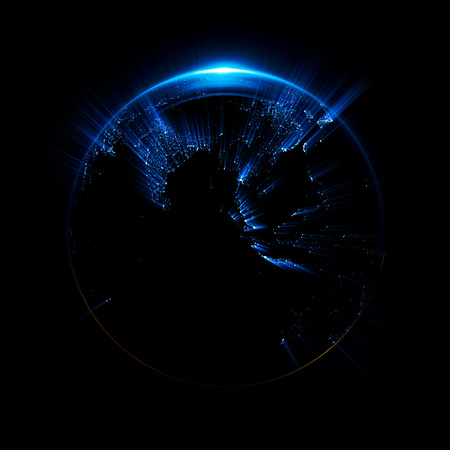 A Stylized Image Of A Planet Earth 3d Rendering City Light Stock