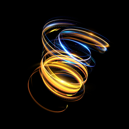 Glow swirl light effect. Circular lens flare. Abstract rotational lines. Power energy element.    Luminous shining neon lights cosmic abstract frame. Magic round frame. Swirl trail effect Imagens