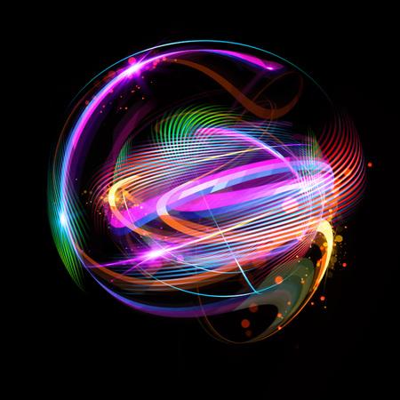 3 D の Atom アイコン。暗い背景に明るい核モデル。輝くエネルギー ボール。分子構造。原子や電子をトレースします。物理学の概念。微細な形態。原