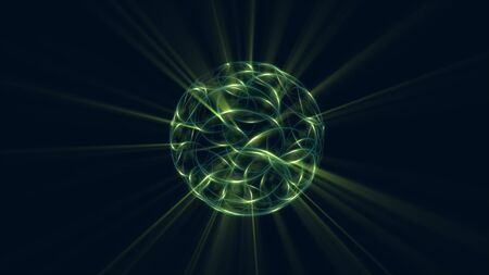 3D Atom icon. Luminous nuclear model on dark background. Glowing bots structure.  Physics electrons concept. Dust power core. Ray ring light ball. Micro model proton.