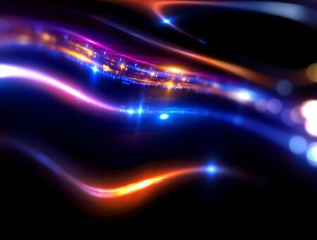 Art light flares. Bulb streaks. magic black space. Flash glow line. Ray LSD dream. Flow LED. Drunk effect. Leak cover. Astral beam. Night neon blur motion mystic. Fuzzy shape. Other sci world coma Stock Photo