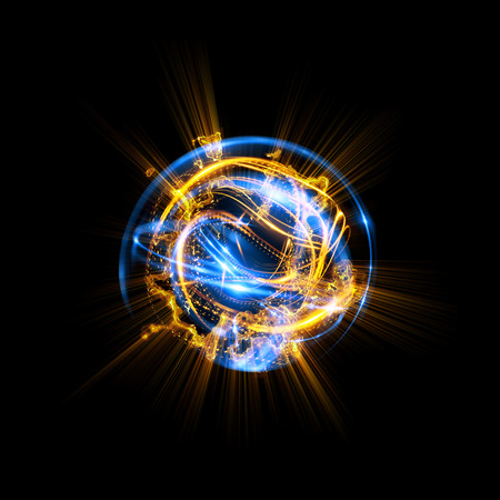3D Atom icon. Luminous nuclear model on dark background. Glowing energy balls. Molecule structure. Trace atoms and electrons.Physics concept. Microscopic forms. Nuclear reaction element. Supernova