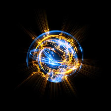 3D Atom-pictogram. Lichtgevend kernmodel op donkere achtergrond. Gloeiende energieballen. Molecuul structuur. Traceer atomen en elektronen. Natuurkunde concept. Microscopische vormen. Kernreactie-element. Supernova