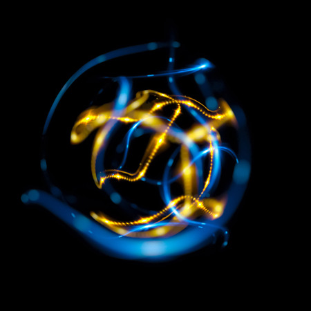 3D Atom icon. Luminous nuclear model on dark background. Glowing energy balls. Molecule structure. Trace atoms and electrons. Physics concept. Microscopic forms. Nuclear reaction element. Supernova