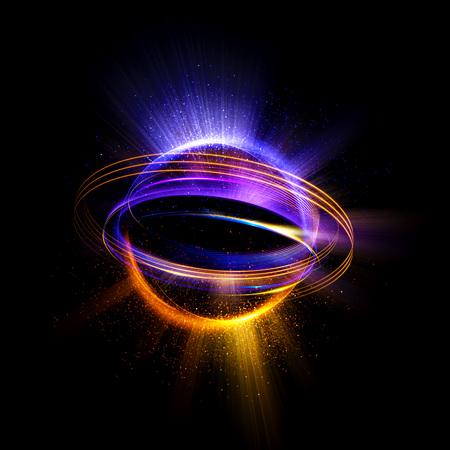 Abstrakter Ringhintergrund mit leuchtendem wirbelndem Hintergrund. Licht Kreise Lichteffekt. Glühende Abdeckung. Bild von Farbe Atomen und Elektronen. Physik-Konzept. Nanotechnologie fliesst Funken.