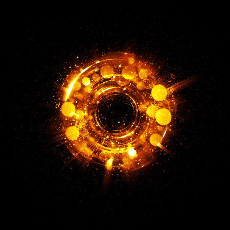 supernova: 3D Atom icon. Luminous nuclear model on dark background. Glowing energy balls. Molecule structure. Trace atoms and electrons..Physics concept. Microscopic forms. Nuclear reaction element. Supernova