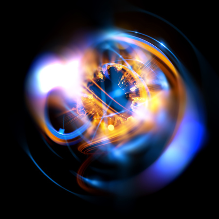 astral: 3D Atom icon. Luminous nuclear model on dark background. Glowing energy balls. Molecule structure. Trace atoms and electrons. Physics concept. Microscopic forms. Nuclear reaction element. Supernova