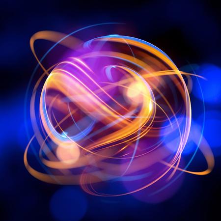 Icône de l'atome 3D. Modèle nucléaire lumineux sur fond sombre. Boules d'énergie luminescentes. Structure de la molécule. Trace les atomes et les électrons. Concept de physique. Formes microscopiques Elément de réaction nucléaire. Supernova