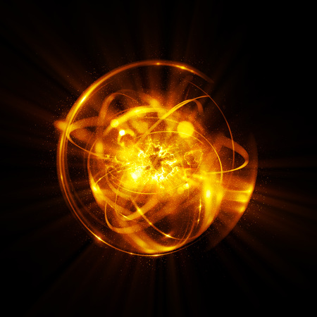 3D Atom icon. Luminous nuclear model on dark background. Glowing energy balls. Molecule structure. Trace atoms and electrons..Physics concept. Microscopic forms. Nuclear reaction element. Supernova