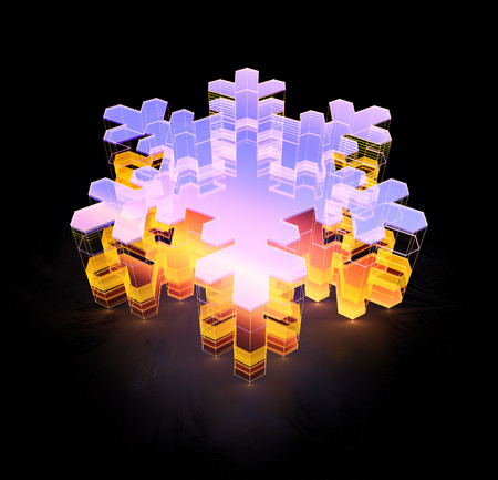 3d render glossy snowflake icon. Glowing glass snowflake. Techno sharp. Geometric on black background.  Detailed 3d model. Cosmic sci-fi neon streaks. Deluxe stripes in space. Brilliant modern Standard-Bild