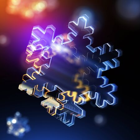 3d render glossy snowflake icon. Glowing glass snowflake. Techno sharp. Geometric on black background.  Detailed 3d model. Cosmic sci-fi neon streaks. Deluxe stripes in space. Brilliant modern Stock Photo
