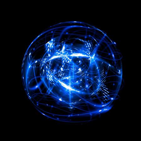 Icono de 3D Atom. Modelo nuclear luminoso sobre fondo oscuro. Brillando bolas de energía. Estructura de la molécula Rastrea átomos y electrones. Concepto de física Formas microscópicas Elemento de reacción nuclear Supernova Foto de archivo
