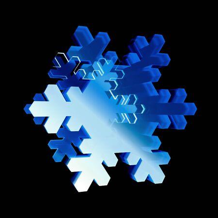 3d übertragen glatte Schneeflockenikone. Glühende Glasschneeflocke. Technisch scharf. Geometrisch auf schwarzem Hintergrund. Detailliertes 3D-Modell. Kosmische Sci-Fi-Neonstreifen. Deluxe Streifen im Raum. Brilliant modern