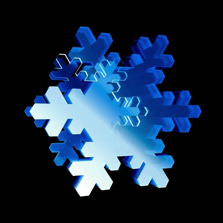 glint: 3d render glossy snowflake icon. Glowing glass snowflake. Techno sharp. Geometric on black background.  Detailed 3d model. Cosmic sci-fi neon streaks. Deluxe stripes in space. Brilliant modern Stock Photo