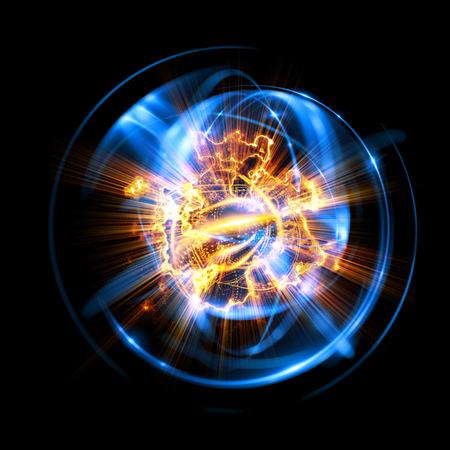 3D Atom icon. Luminous nuclear model on dark background. Glowing energy balls. Molecule structure. Trace atoms and electrons.